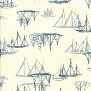 Moda - Ebb and Flow by Janet Clare - 6976 - Sailing Boats on Cream - 1486 11 - Cotton Fabric